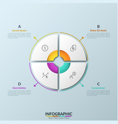 paper white circular pie chart divided into 4 vector image