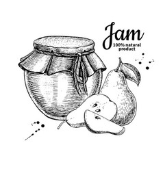 Pear jam glass jar drawing fruit jelly an vector