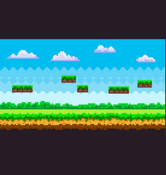 Pixel art game background scene with green grass vector