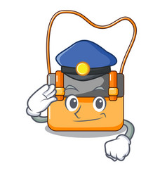 Police messenger bag on a isolated mascot vector