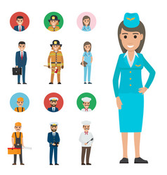 Professions people cartoon characters icons set vector