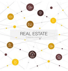 real estate trendy web template with simple icons vector image