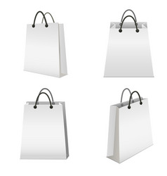 Realistic template blank white paper bag set vector