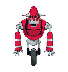 red robot automation with wheel vector image