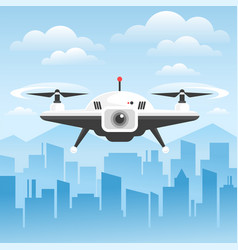 Remote air drone flying in sky vector