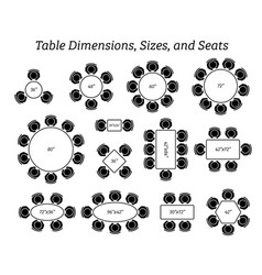 round oval and rectangular table dimensions sizes vector image