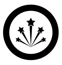 salute firework icon black color in circle round vector image