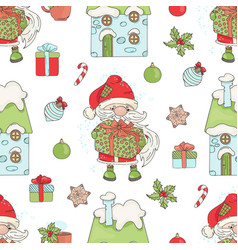 santa gift christmas seamless pattern illus vector image