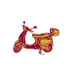 Scooter Bike Side Vintage Woodcut vector image