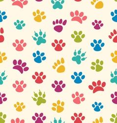 Seamless texture with traces of cats dogs imprints vector