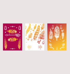 set banners with feathers in boho style vector image