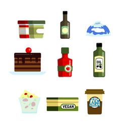 set flat food and supermarket products vector image