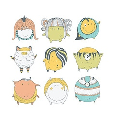 Set of cute colorful monsters hand drawn in doodle vector image vector image