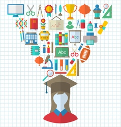 Set of Education Flat Colorful Icons vector