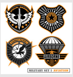 Set of military and army badge and patches vector