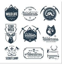 Set of outdoor wild life related labels badges vector