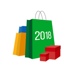 set of paper shopping bags with numbers 2018 vector image