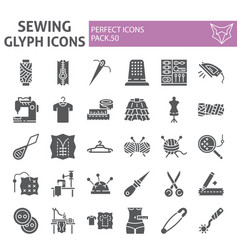 Sewing glyph icon set tailor symbols collection vector