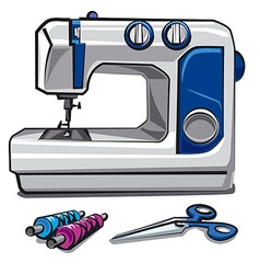 Sewing machine and threads vector