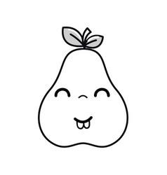 Silhouette kawaii nice happy pear icon vector