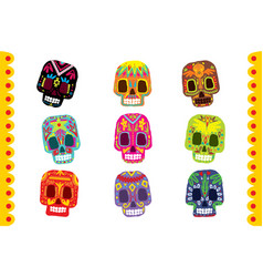 Sugar skull set day of the dead traditional vector