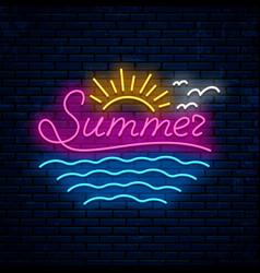 summer night neon sign vector image