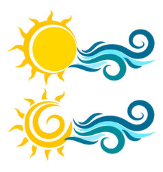sun and water waves vector image