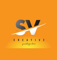 Sv s v letter modern logo design with yellow vector