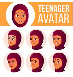 teen girl avatar set arab muslim face vector image