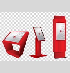 three red interactive information kiosk vector image
