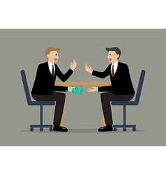 Two Businessmen Passing Money Under the Table vector image