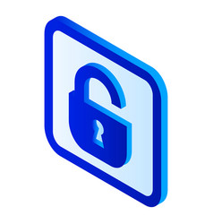 unlock padlock icon isometric style vector image