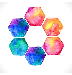 Watercolor bright hexagon over white vector