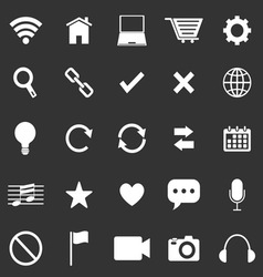 Web icons on black background vector image