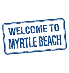 Welcome to Myrtle Beach blue grunge square stamp vector