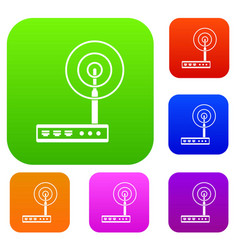 wifi router set color collection vector image