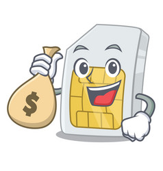 with money bag simcard in phone a cartoon vector image
