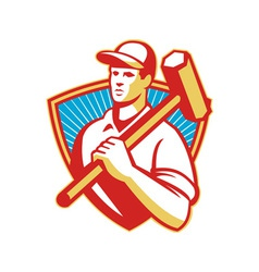 Worker sledgehammer shield vector