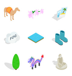 Zoological garden icons set isometric style vector