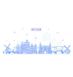 amsterdam skyline netherlands city building vector image