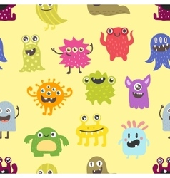 Cute monsters seamless pattern vector image
