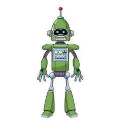 green robot machine engineering vector image