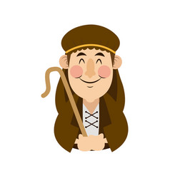 Shepherd with stick cartoon character icon graphic vector