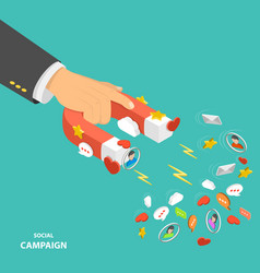 social campaign flat isometric low poly concept vector image vector image