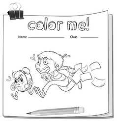A coloring worksheet with a boy vector image vector image