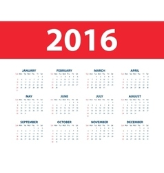 Calendar for the year 2016 vector image