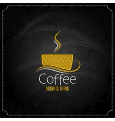 coffee cup chalk label concept menu vector image