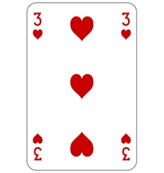 Poker playing card 3 heart vector image vector image