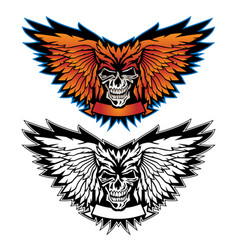 skull wing logo graphic vector image