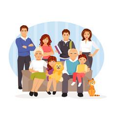 cartoon big family vector image vector image